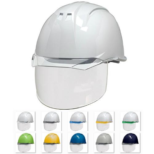 ワイドシールド面付き フェイスシールド 安全ヘルメット 保護帽 電気工事対応 DIC AA11-CS
