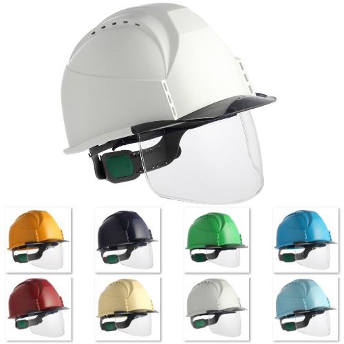 大型ワイドシールド フェイスシールド 半透明ひさし クリアバイザー 安全ヘルメット 作業用ヘルメット 保護帽 住ベテクノプラスチック KKC3S-B