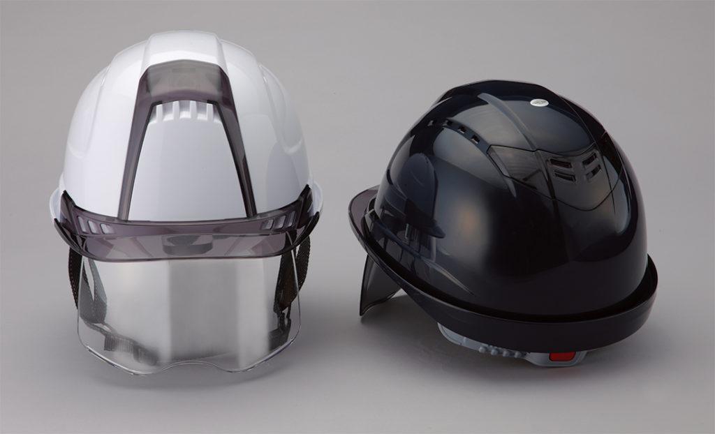 ヘルメット 工事用 作業用 建設用 建築用 現場用 高所用 安全 保護帽 透明ひさし クリアバイザー 大型 大きい シールド面 フェイスシールド トーヨーセフティー No.391F Venti plus ヴェンティー プラス