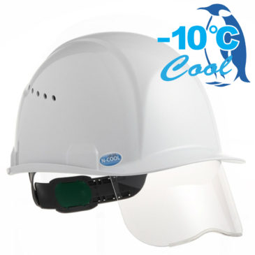 【新商品】-10℃! Nクール遮熱練込みシールド面付き安全ヘルメット【熱中症対策】