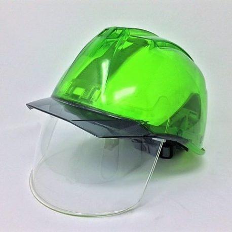 屋外作業 耐候性 PC樹脂 ワイドシールド面 透明ひさし 電気工事対応 現場作業用ヘルメット DIC AP11EVO-CS スケルトングリーン
