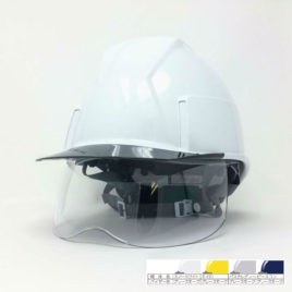 ヘルメット 工事用 作業用 建設用 建築用 現場用 高所用 安全 保護帽 透明ひさし クリアバイザー 小さめ コンパクト シールド面 着脱 ヘッドライト対応 電気工事対応 スミハット 住べテクノプラスチック KKXS-A