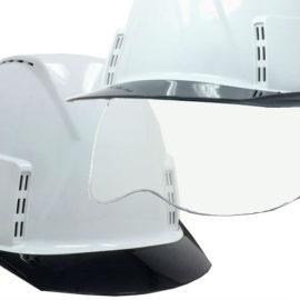 ヘルメット 工事用 作業用 建設用 建築用 現場用 高所用 安全 保護帽 透明ひさし クリアバイザー 小さめ コンパクト シールド面 着脱 通気孔 電気工事対応 ヘッドライト対応 スミハット 住べテクノプラスチック KKX